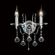Zinta Double Wall Light in Polished Chrome and Crystal, Switched - DIYAS IL30122